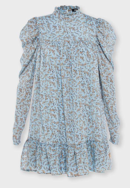 Puff Sleeve Smock Dress