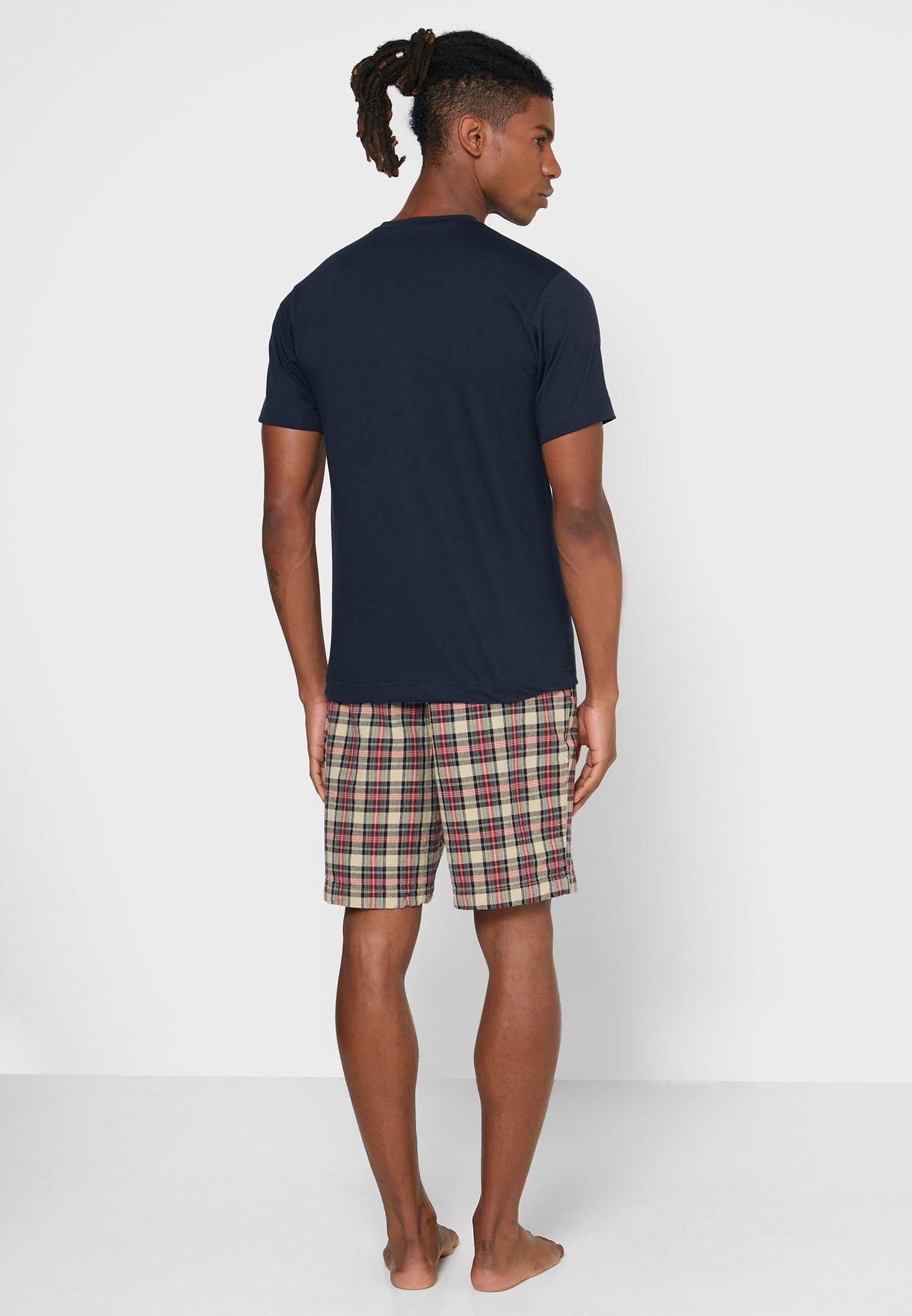 T-Shirt & Checked Pyjama Shorts Set