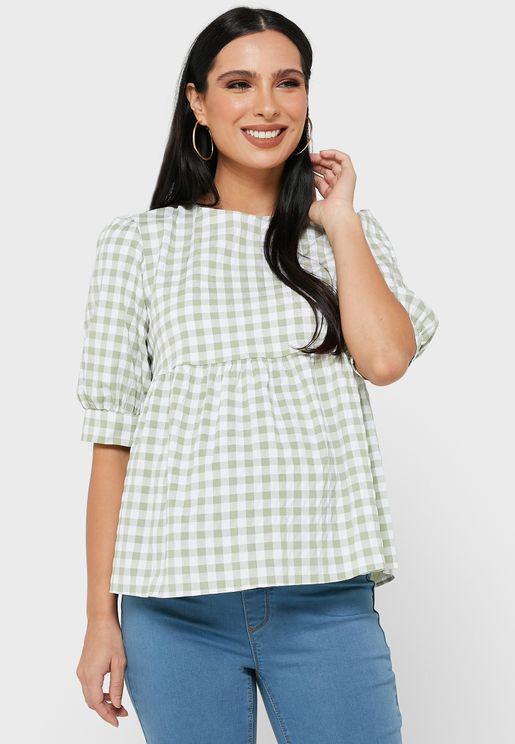 Gingham T-Shirt Peplum Top