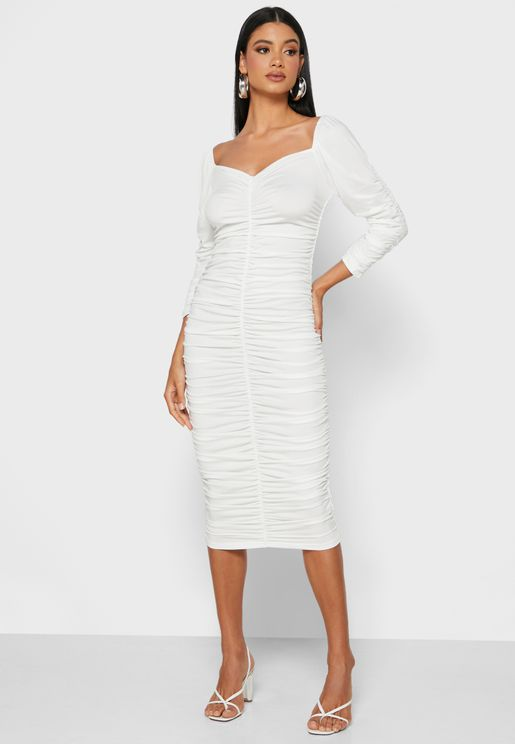 Ruched Bodycon Midi Dress