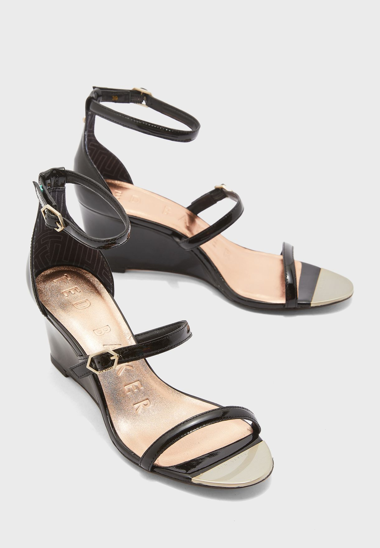 Weliin Triple Strap Wedge Sandal
