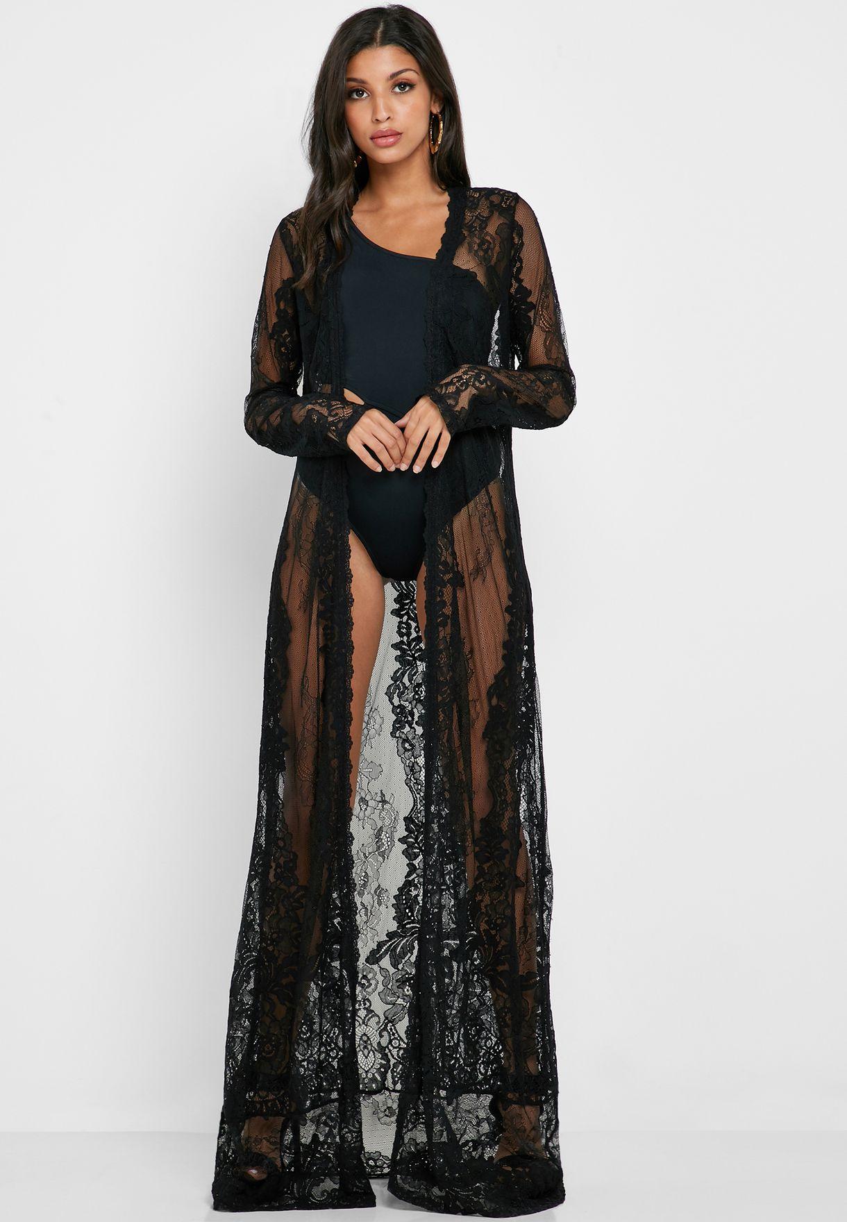 Longine Sheer Lace Kimono