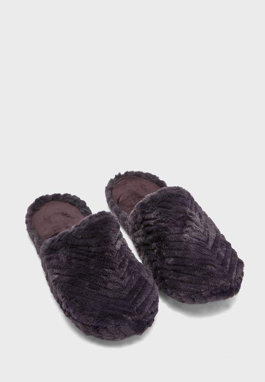Chevron Fur Mule Bedroom Slipper