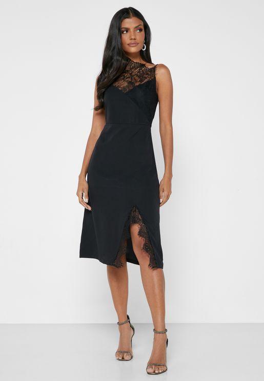 One Sleeve Lace Detail Mini Dress