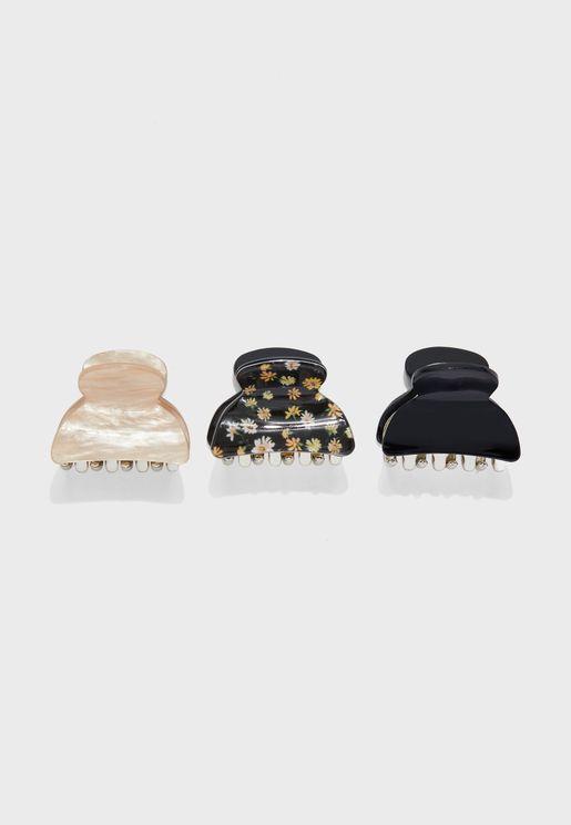 3 Pack Mini Floral Bulldog Hair Clips