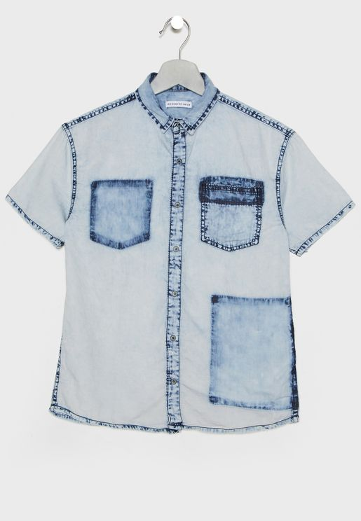 Teen Pocket Detail Denim Shirt