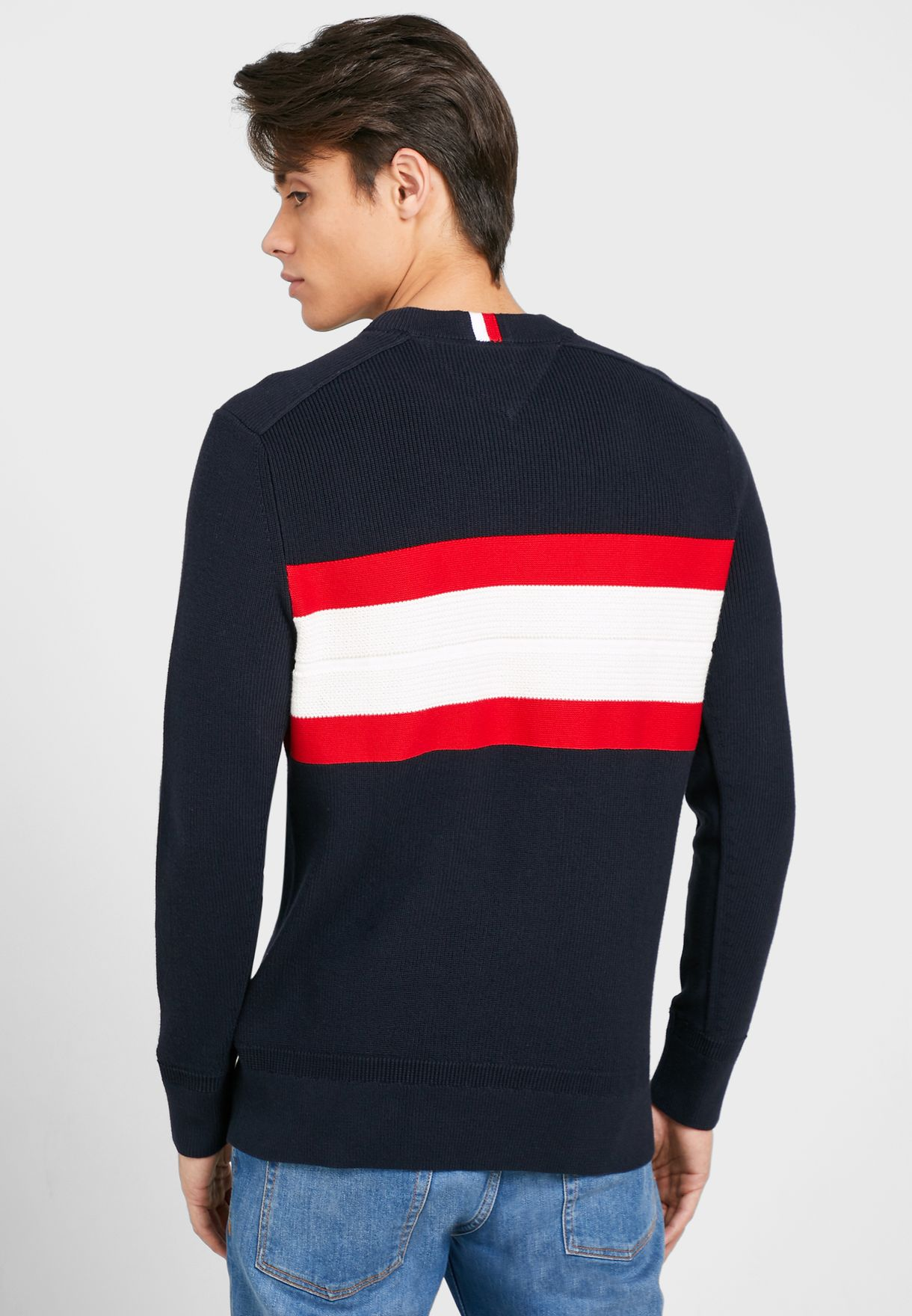 Chest Stripe Ribbed Sweater