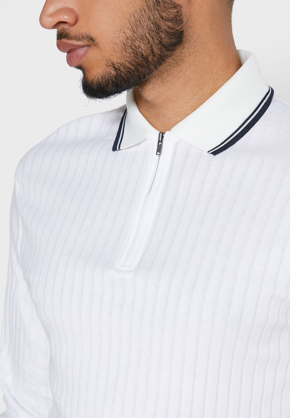 Ribbed Zip Detail Polo
