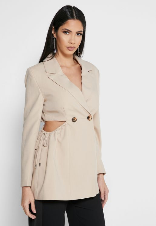 Side Cut Out Double Breasted Blazer