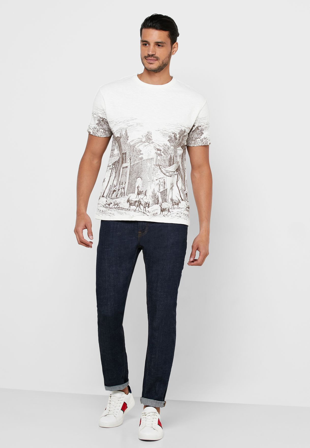 Printed Crew Neck T-Shirt