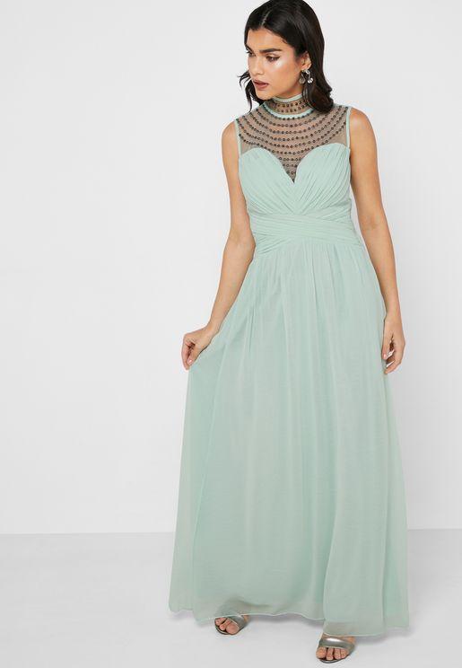 Studded High Neck Maxi Dress