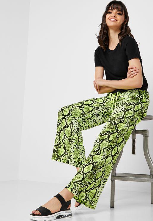 Snake Print Drawstring Pants