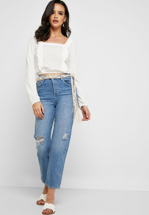 Recycled Ripped Mid Rise Boyfriend Jeans