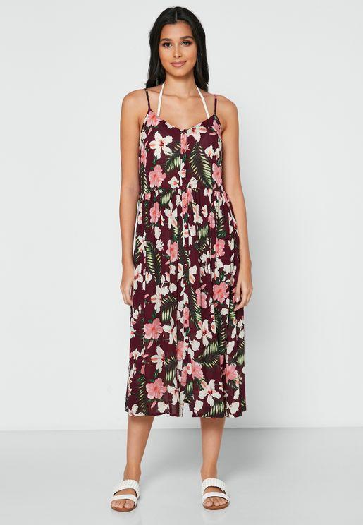 فستان بطبعات استوائية