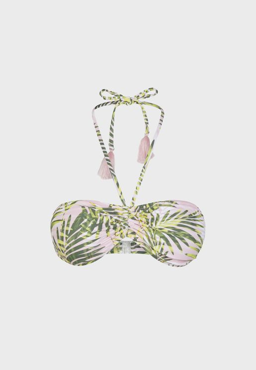 Halter Neck Printed Bikini Top