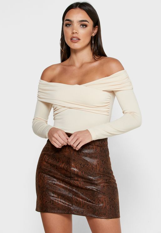 Cross Front Ruched Detail Bardot Top