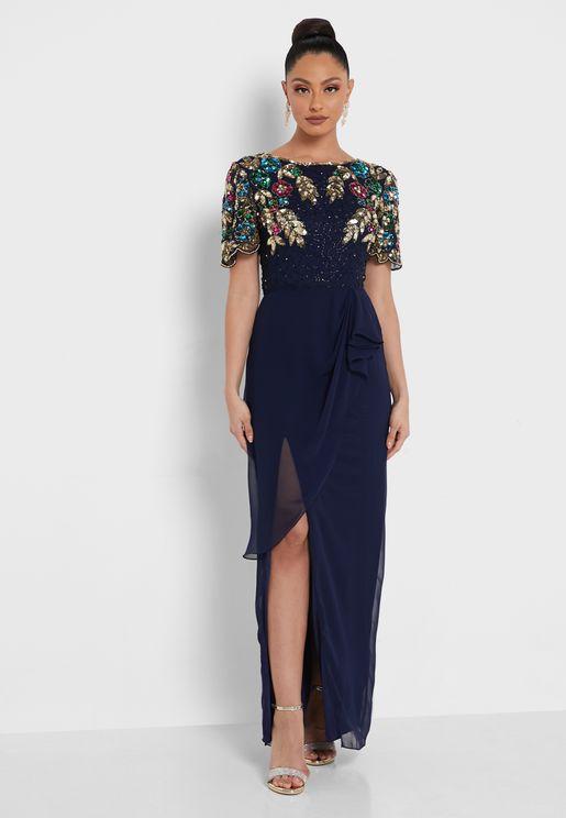 Embroidered Front Slit Dress