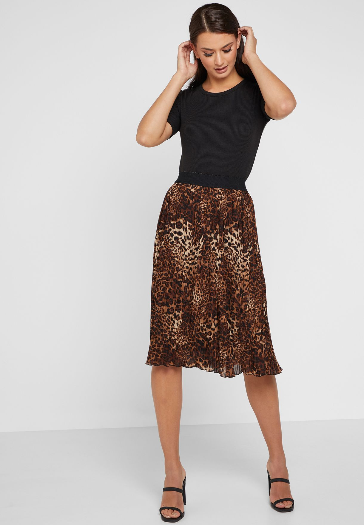97f99ac4b7f9 Shop Ella prints Leopard Print Pleated Midi Skirt 35455 for Women in ...