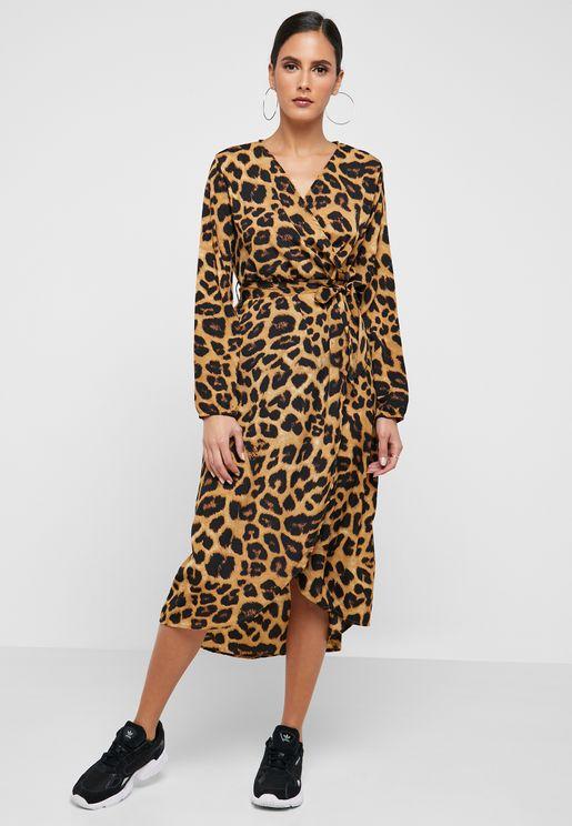 Leopard Print Self Tie Midi Dress