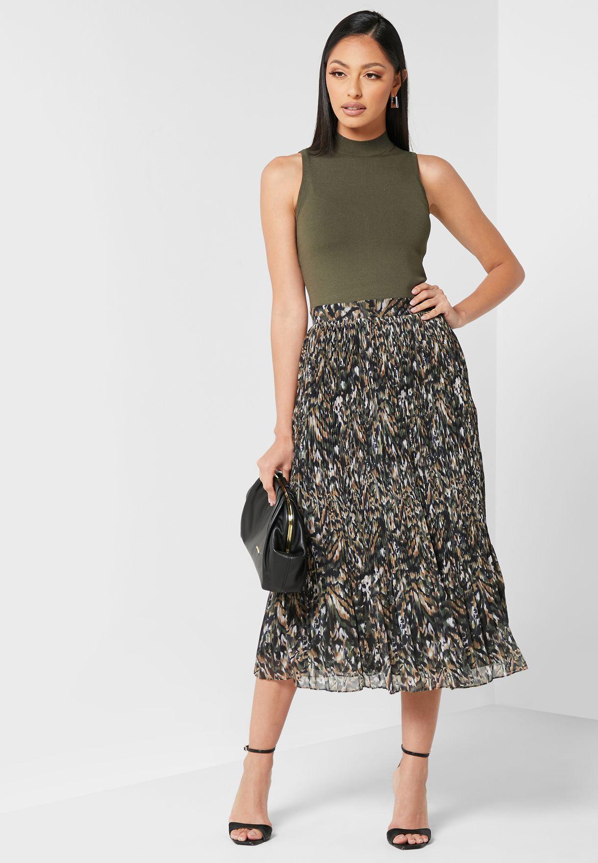 Lemmie Printed Pleated Dress