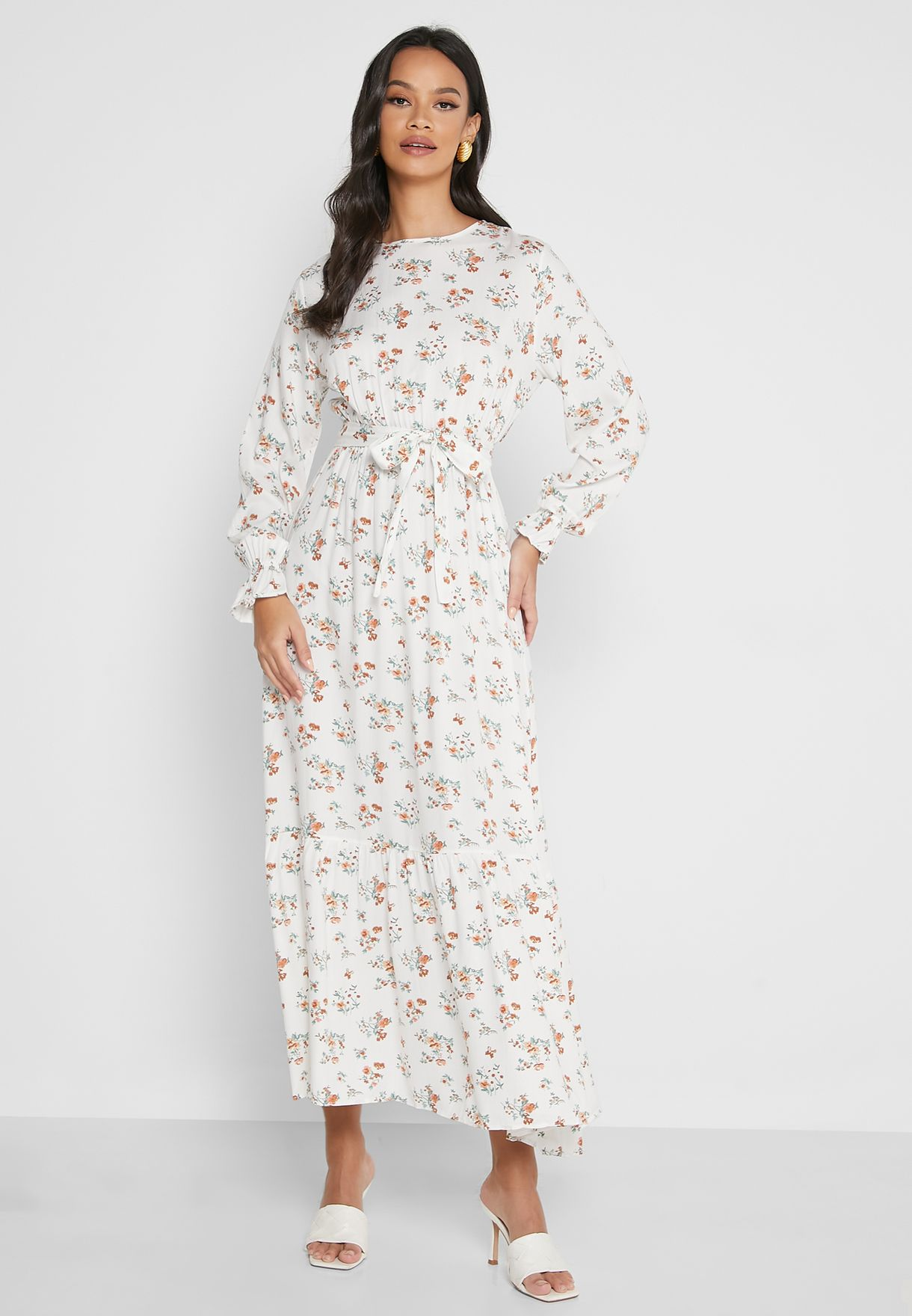 Floral Print Elastic Detail Dress
