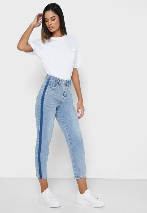 Contrast Panel Jeans