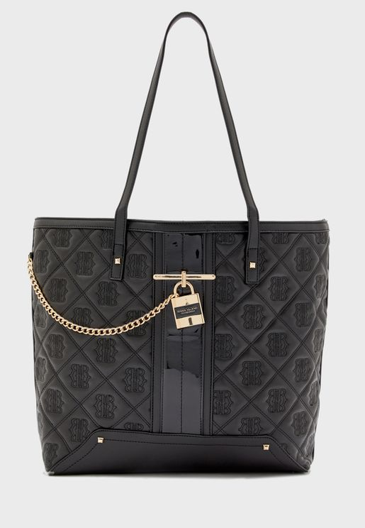 Quilted Stud Padlock Tote