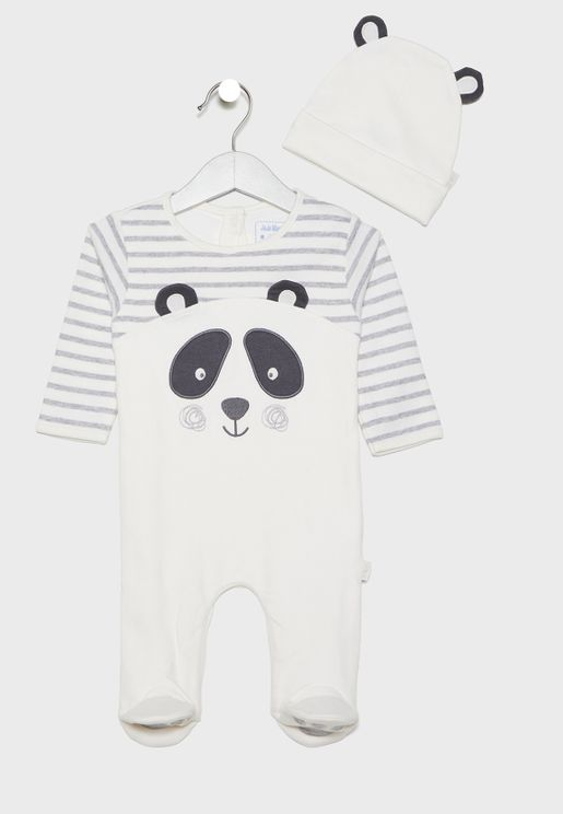 Infant Panda Romper + Hat Set