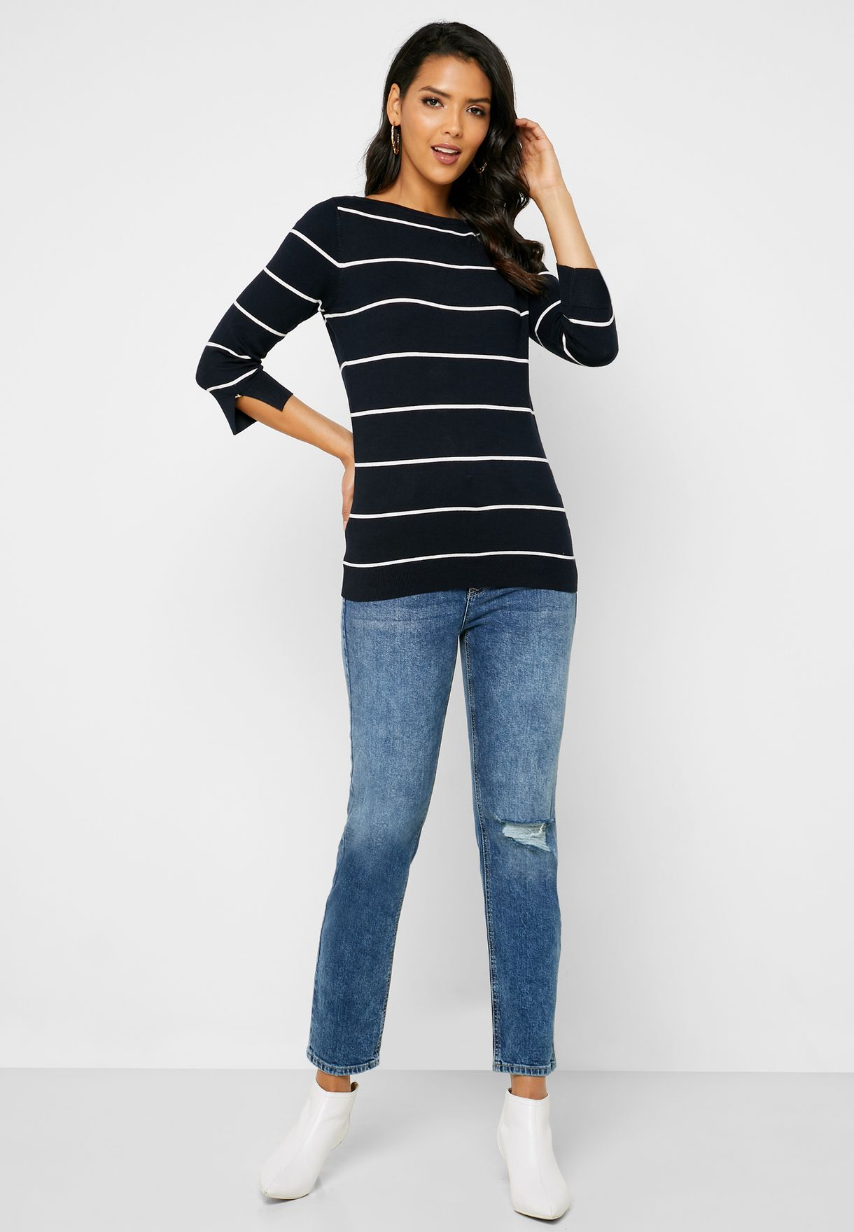 Striped 3/4 Sleeve Sweater