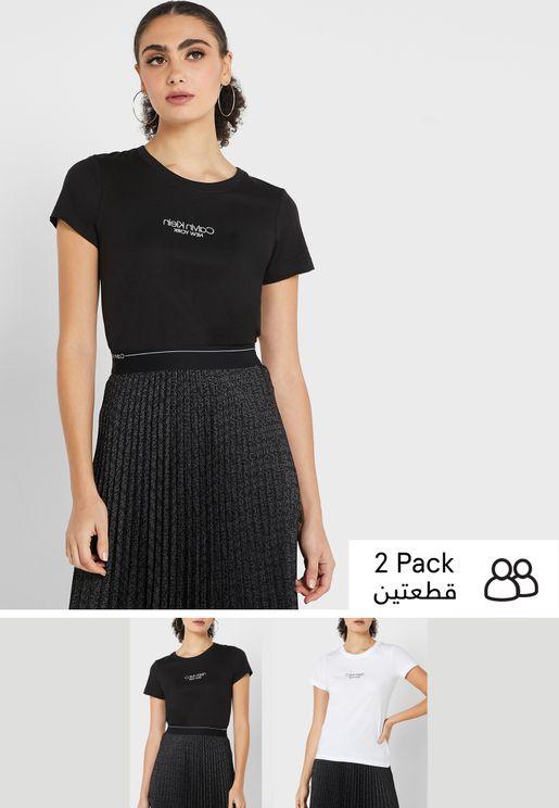 2 Pack Round Neck Logo T-Shirt