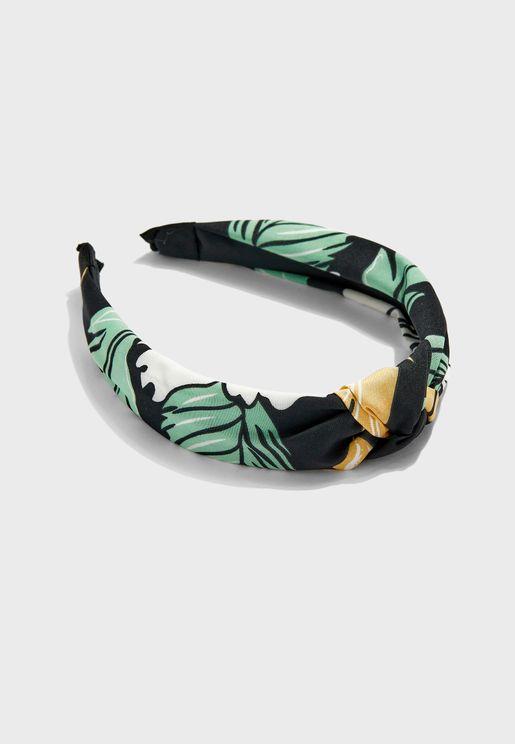 Abstract Floral Print Knot Headband