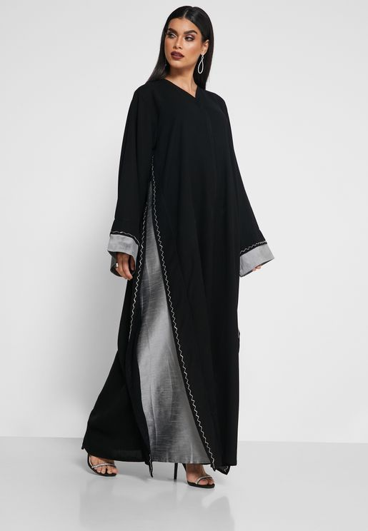 Contrast Detail Sequin Abaya