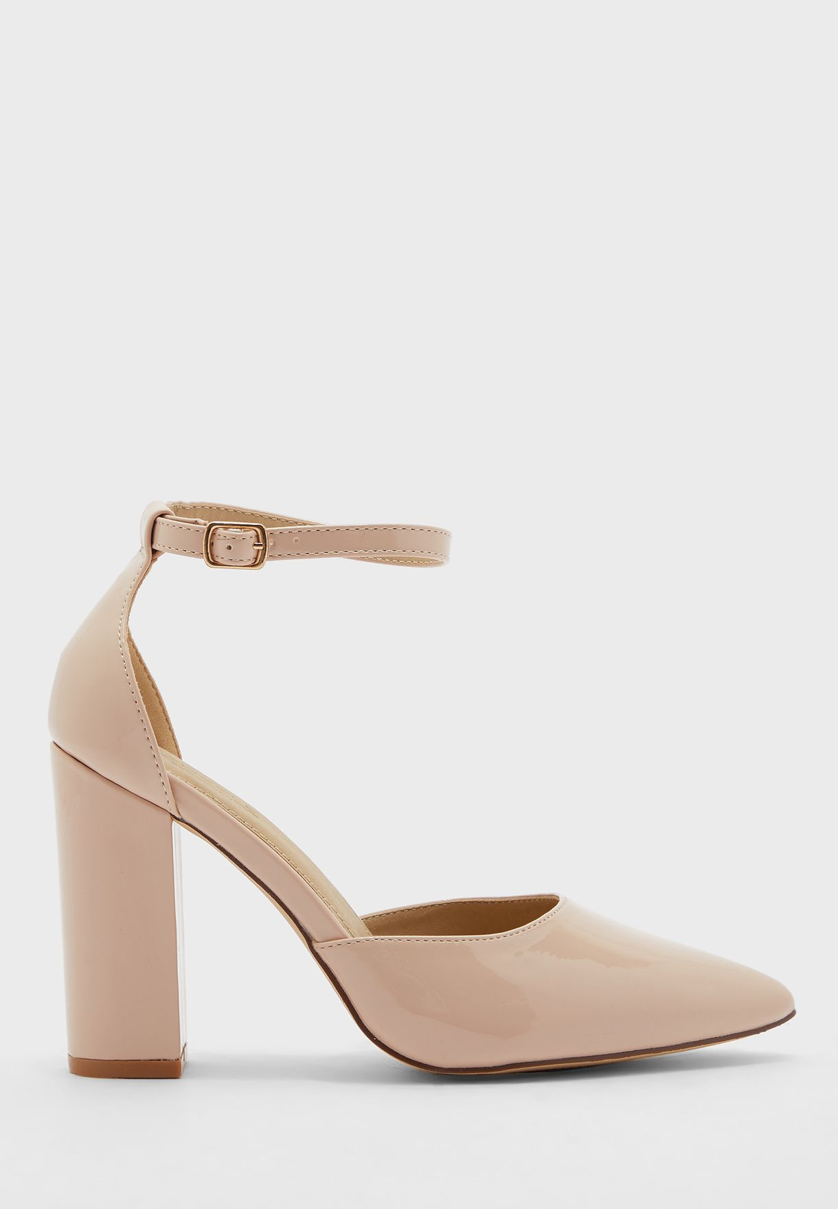 Pointed Patent Block Heel Ankle Strap Pump