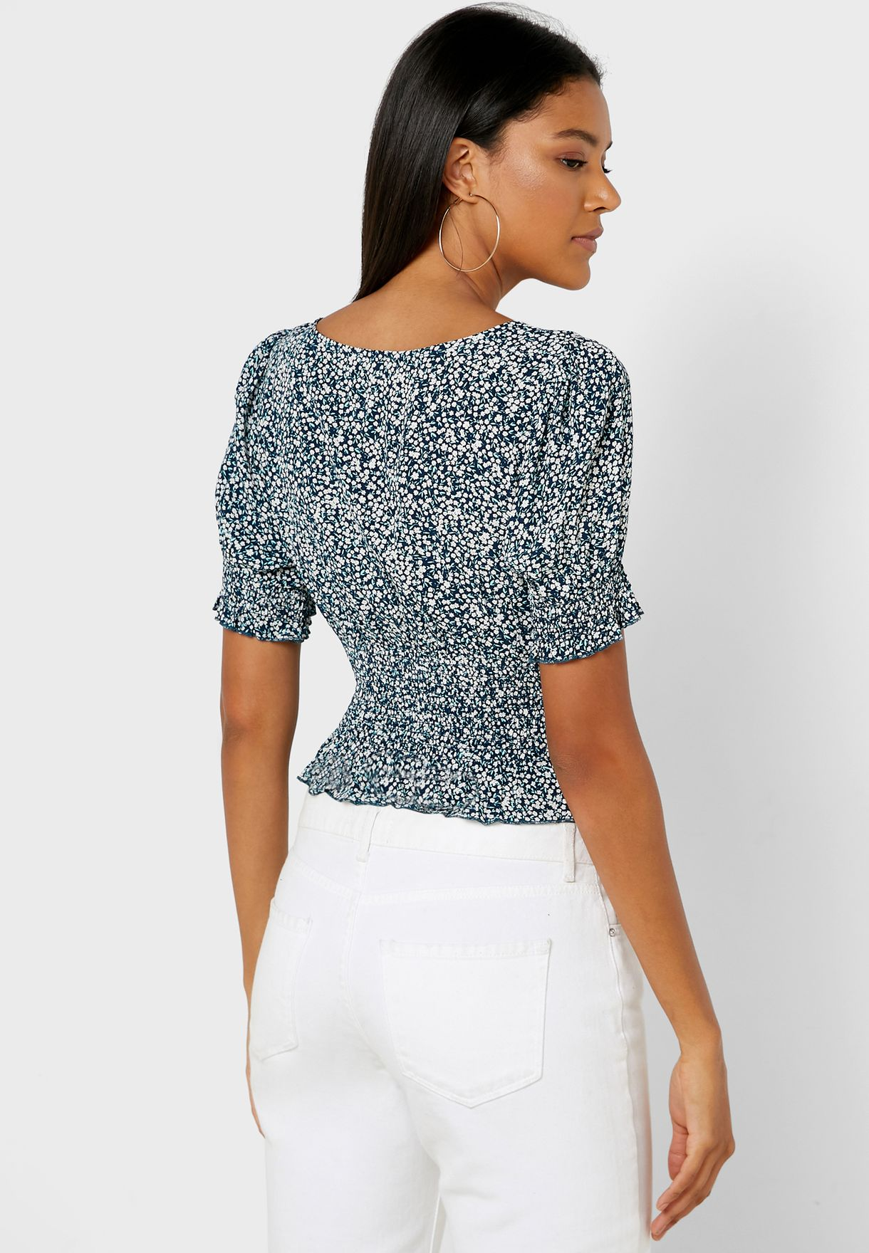 Shirred Waist Square Neck Top