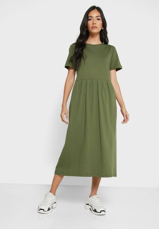 Pleated T-Shirt Midi Dress