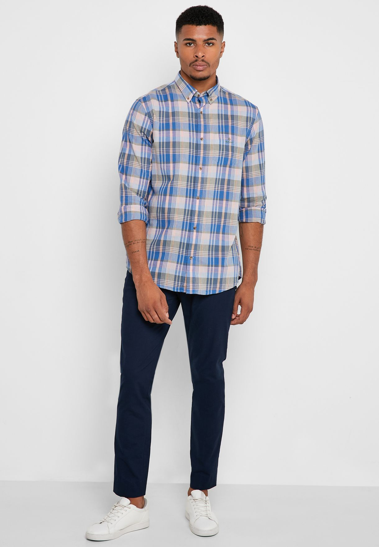 Checked Button Down Regular Fit Shirt