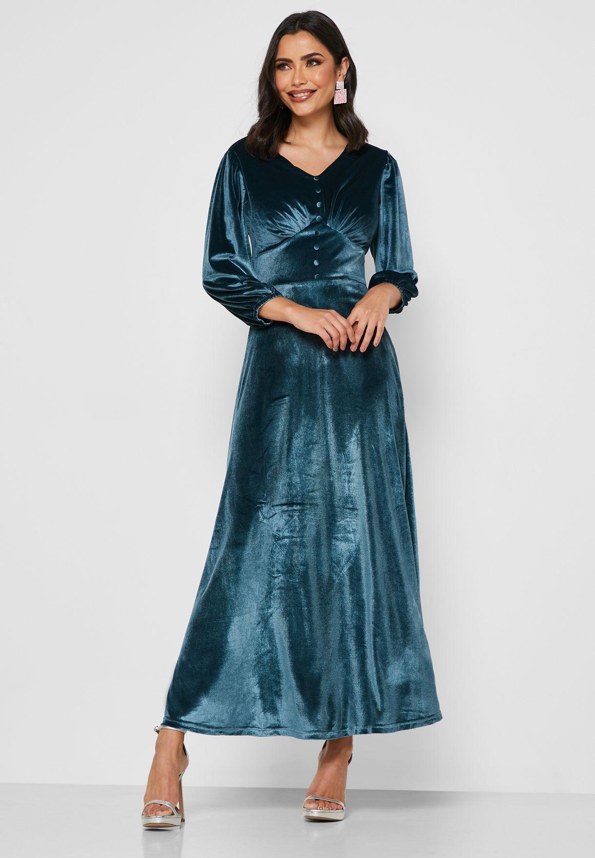 Button Front Velvet Maxi Dress