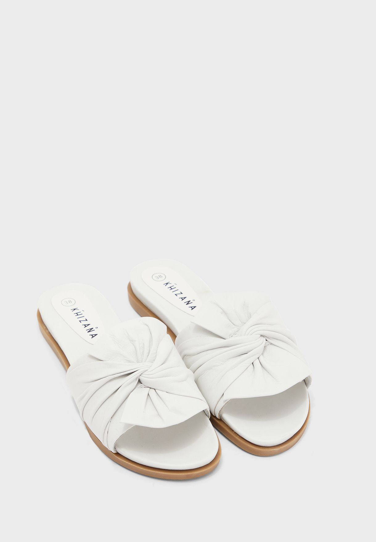 Leather Knot Front Slide On Flat Sandal