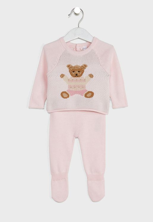 Infant Bear Print Knitted Top And Trouser Set