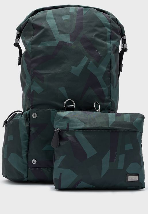 Camo Print Paper Touch Nylon Backpack