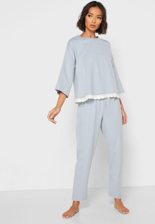 Lace Hem Pyjama Set