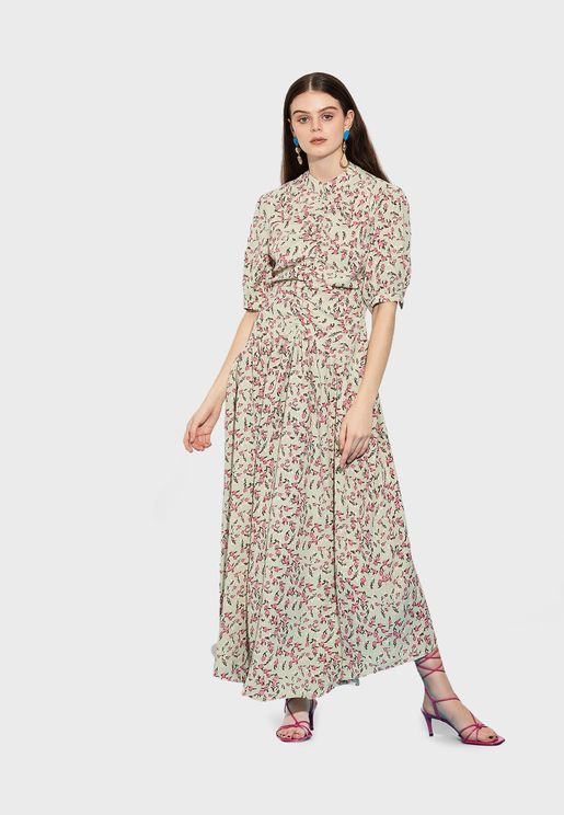 Printed Placket Shirt Dress