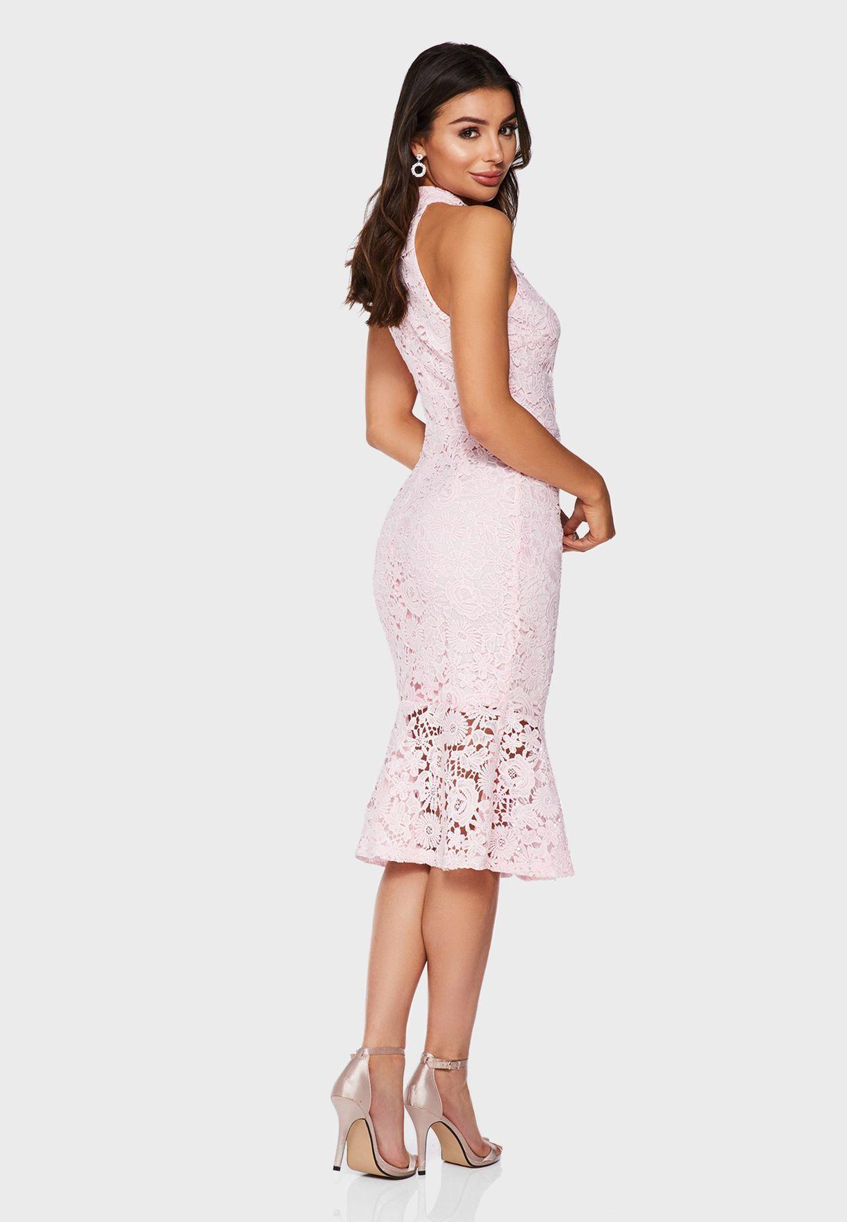 Crochet High Neck Dress