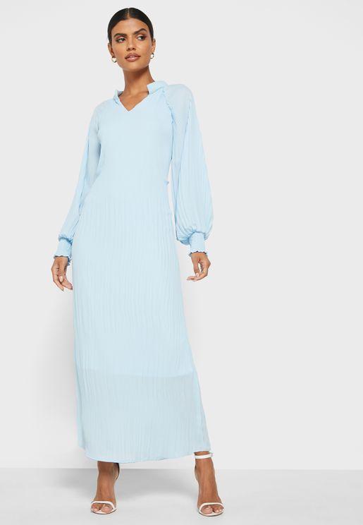 فستان ميدي بأكمام منفوشة