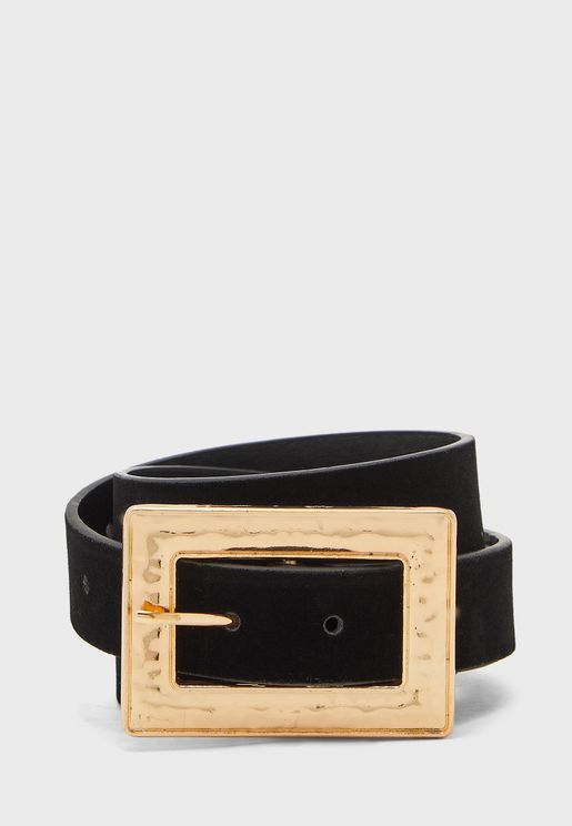 Rectangular Textured Buckle Belt