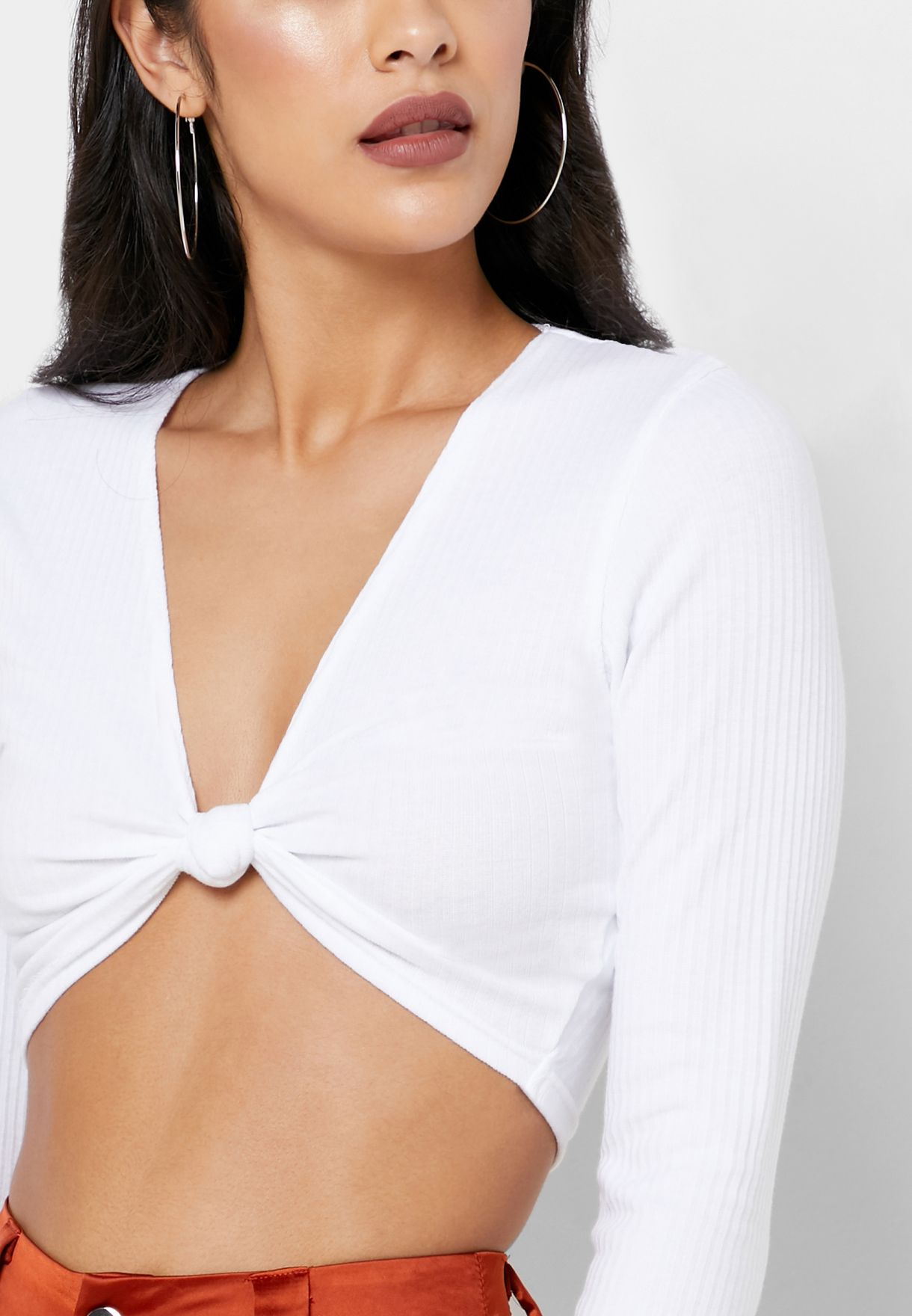 Ribbed Front Twisted Top