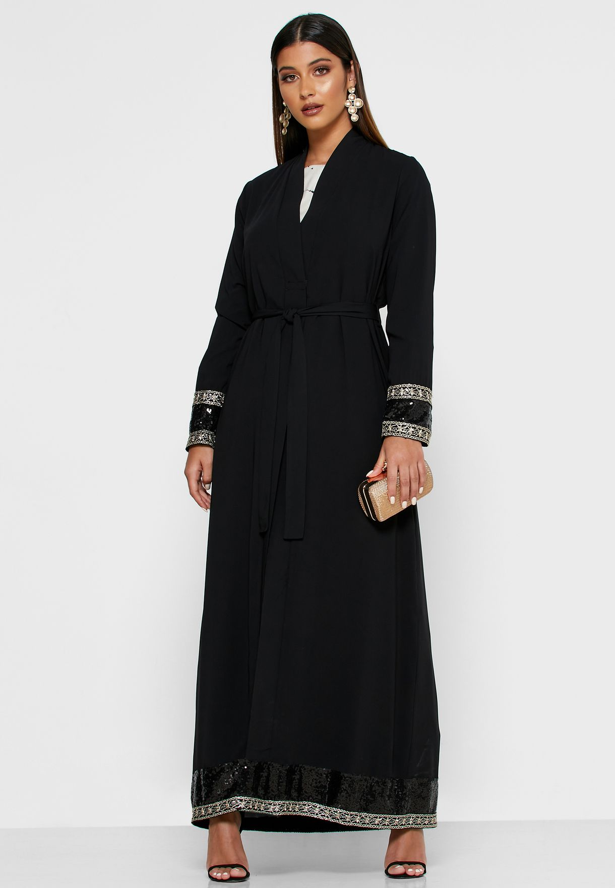 Embroidered Sequin Trim Self Tie Abaya