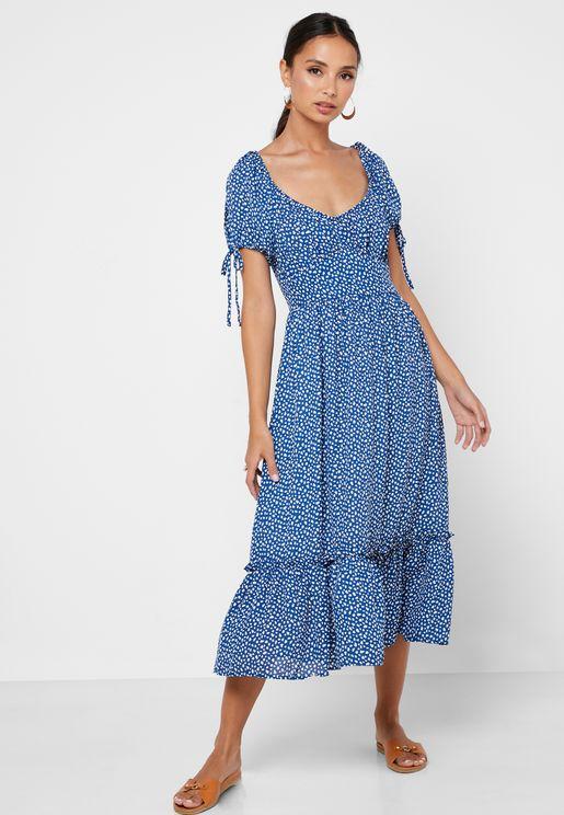 فستان مطبع وبكشكش