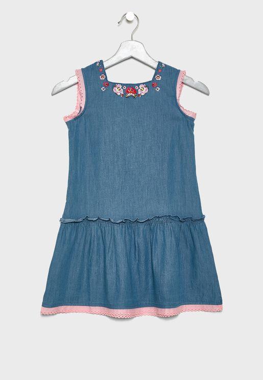 Kids Embroidered Drop Waist Dress