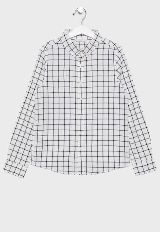 قميص اطفال بطبعات مربعات (كاروهات)
